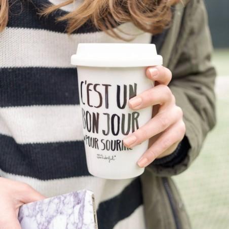 """Mug take away """"c'est un bon jour pour sourire"""""""
