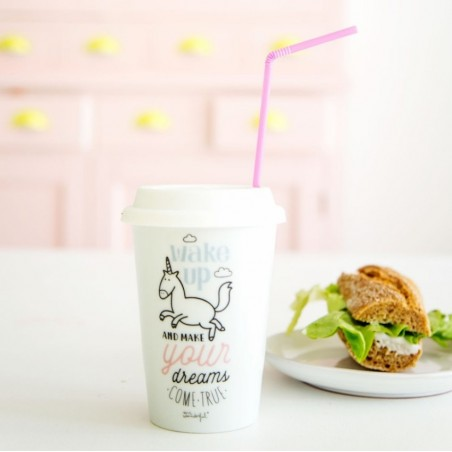 "Mug take away "" Wake up and make your dreams come true"""